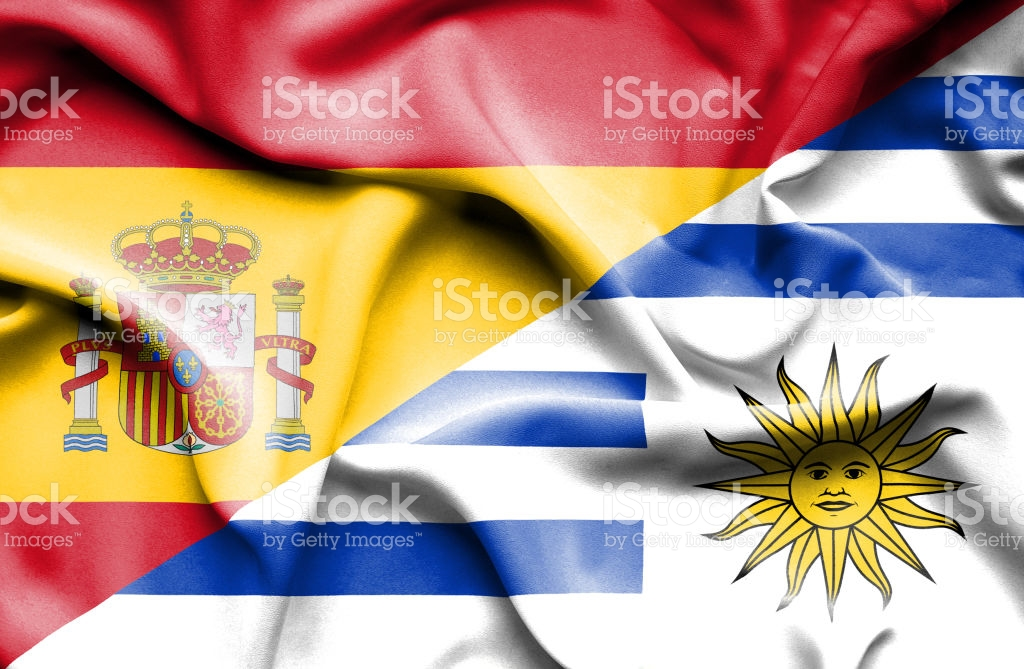 Waving flag of Uruguay and Spain