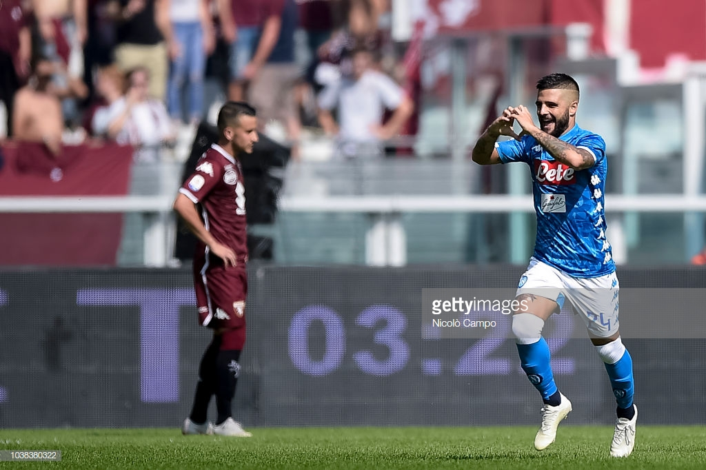 Lorenzo Insigne (R) of SSC Napoli celebrates after scoring