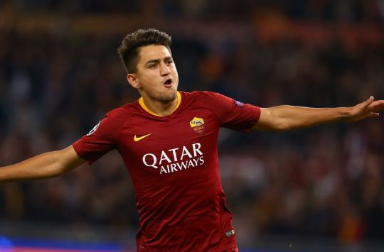 OLIMPICO STADIUM, ROME, LAZIO, ITALY - 2018/10/23: Roma's Turkish striker Cengiz Under celebrates after scoring a goal during the UEFA Champions League football match AS Romai vs CSKA Moskow at the Olimpico Stadium. AS Roma won the match 3-0. (Photo by Carlo Hermann/KONTROLAB /LightRocket via Getty Images)