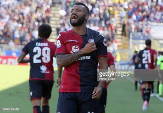 CAGLIARI, ITALY - OCTOBER 06: Joao Pedro of Cagliari celebrates his goal 1-0 during the Serie A match between Cagliari and Bologna FC at Sardegna Arena on October 6, 2018 in Cagliari, Italy. (Photo by Enrico Locci/Getty Images)