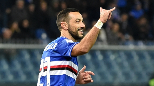 GENOA, ITALY - JANUARY 26: Fabio Quagliarella of Sampdoria celebrates after penalty for 1-0 during the Serie A match between UC Sampdoria and Udinese at Stadio Luigi Ferraris on January 26, 2019 in Genoa, Italy. (Photo by Paolo Rattini/Getty Images)